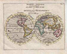1749 Scarce Unusual  Buffier Double Hemisphere Map of the World