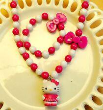 Girls kids children Hello Kitty bow Pink Necklace Pendant Bracelet Set