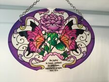 "joan baker hand painted stained glass  7×5.5 "" butterflies & Lavender suncatcher"