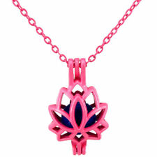 R52 Hot Pink plated Alloy Pearl Beads Cage Short Necklace 26mm Flower Lotus