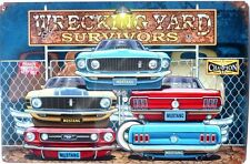 WRECKING YARD SURVIVORS CLASSIC. ALL WEATHER METAL TIN SIGN 445X295