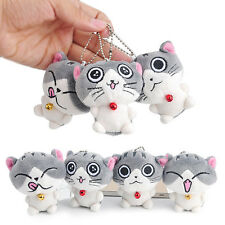 Small Gray Cat Plush Doll Toys Stuffed Animal Quality Bolster Key chain Keyring