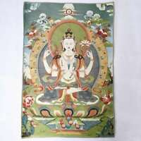 "36"" Tibet Tibetan Cloth Silk Buddhism 4 Arm Guanyin Kwan-yin Tangka Thangka #1"