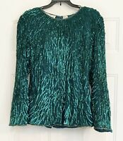 Vintage Lawrence Kazar Womens Silk Sequined Top Green Beaded Size Large