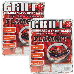 Einweggrill FLAMBIT 2 Stück mit Grillkohle 30x24x5cm Sommer Grill Grillen