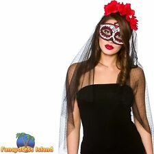 Day of the Dead Deluxe Mask Veil Sugar Skull DOTD Adult Womens Mens Fancy Dress