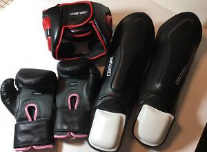 Full Set Century Women's Wrist Wrap Boxing Gloves 10 oz~ Helmet ~Shin Guards ++