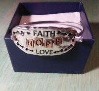 FAITH LOVE HOPE Silver Bangle Inspiration Message Bracelet
