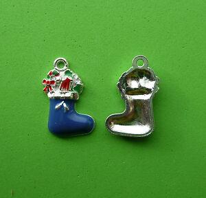 5x3D Enamel Xmas Christmas Boot Stocking Filler Charms Pendant Blue