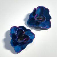VINTAGE Enamel FLOWER POWER EARRINGS Blue Pink Clip Back RUFFLED PETALS FUN