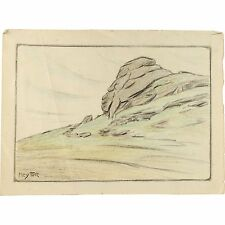 Unframed Original Chromatic Pencil Landscape Drawing Hey Tor Dartmoor Devon 1930