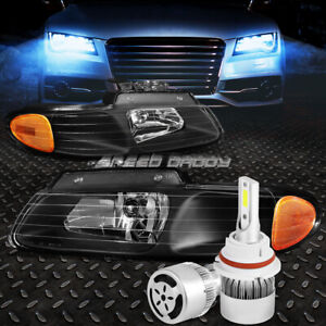 BLACK HOUSING HEADLIGHT+AMBER CORNER+WHITE LED 9007 HID W/FAN FOR 96-00 CARAVAN