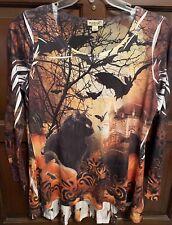 ONE WORLD XL Black Cat Castle Bat Halloween Top Shirt Orange Black