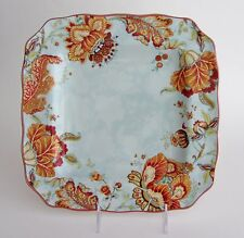 """222 Fifth GABRIELLE SPRING BLUE SQUARE 11"""" side DINNER PLATES SET 4 Paisley"""