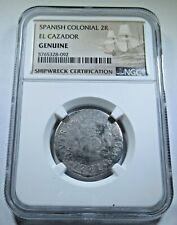 1771 El Cazador Shipwreck Silver 2 Reales NGC Genuine Antique 1700's Pirate Coin