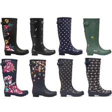 Ladies Joules Welly Print Tall Rubber Waterproof Rain Outdoor Fashion