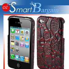 Deep Red Crocodile Design Cover Case For iPhone 4G 4GS + Screen Protector