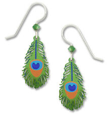 Peacock Feather Earrings with Sterling Silver Ear Wires - Peacocks Jewelry NEW