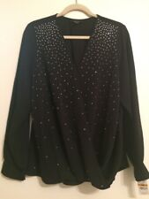 Alfani  Womens Black Faux Wrap Embellished Sheer Casual Top Shirt Plus 16W
