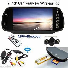 "Wireless Parking Backup Camera+ 7"" HD Car Rear View Bluetooth Mp5 Mirror Monitor"