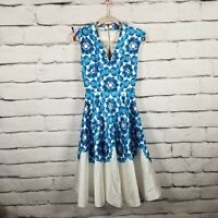 Ted Baker Women's Size 0 Dress Narissa Middi Blue White Floral