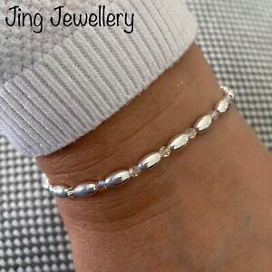 Sterling Silver Beaded Stretch Oval Bracelet With Swarovski Crystal Beads 925