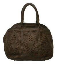 TASCHENDIEB WIEN Handtasche TD0056 genarbtes LederOlive(braun)35x30x13cm(BxHxT