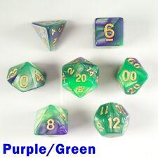 Elemental Poly 7 Dados Rpg conjunto morado verde dos tonos DND D&D 5e Pathfinder HD