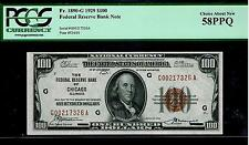 1929 $100 Dollars Chicago   National Currency About Uncirculated PCGS 58