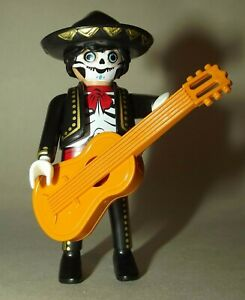 PLAYMOBIL DAY OF THE DEAD FIGURE WITH GUITAR, SERIES 20, NEW, HALLOWEEN.