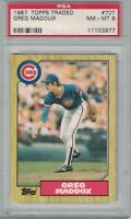 GREG MADDUX 1987 Topps Traded Chicago CUBS MLB Baseball Rookie CARD #70T PSA 8