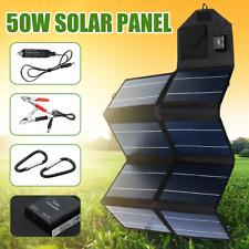 Portable 50W 12V Solar Panel Dual USB Folding Waterproof Charger Mobile Power Ba
