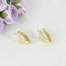 E10 18K Gold Filled Crystal Leaf Feather Earrings in Gift Box