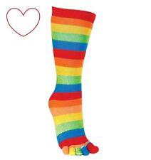 Stripey Toe Socks Multi Coloured Novelty Fun Gift Stocking Filler