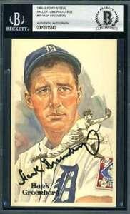 Hank Greenberg BAS Beckett Coa Signed Perez Steele Postcard Autograph