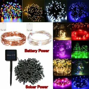 500/200/100/30/20 LED Solar/Battery String Fairy Lights Christmas Outdoor Garden