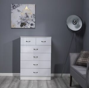 White High Gloss Large 6 (4+2) Drawer Tall Chest of Drawers.Bedroom Chest.