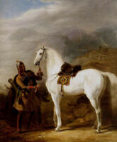 Dream-art Oil Allan William Circassian chief preparing his stallion Hand painted