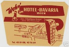 VIENNA AUSTRIA HOTEL BAVARIA VINTAGE LUGGAGE LABEL