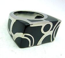 Enamel Ring Stainless Steel 316L Ladies Black Size 9 Band  Fashion Right-Hand