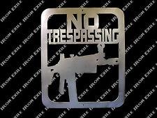 AK47 No Trespassing Metal Wall Art Sign Plasma Cut AK 47 Rifle Gun Keep Out SQ.
