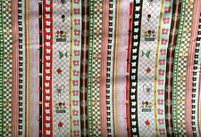 P & B Craft Sewing Quilt Village Green (00574)  Pink Stripe Fabric BTY