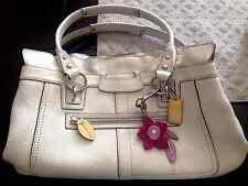 Coach Penelope White Pebbled Leather Satchel Purse Handbag Large Bag Authentic