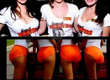 M Hooters Uniform Florida Beach V Neck Top Dolfin Shorts Pantyhose socks nametag