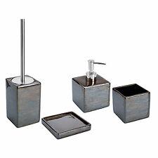 Set 4 accessori bagno da appoggio in ceramica fango e acciaio inox linea Cuba