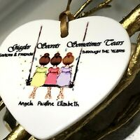 Gifts for her Sister Sis Personalised Names Swing 2 / 3 /4/5 Heart Love Unusual