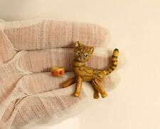 "Cat OOAK BJD Wooden Miniature 3.6 cm 1.4"" Art Doll by Julia Arts"