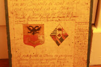 c1700 medieval genealogy manuscript ab 1429 king advisor familly coat of arms #1