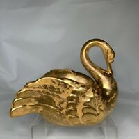 Vintage Stangl Pottery Granada Gold Swan Bird Planter Trinket Dish Hand Painted