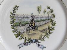 05C84 ANCIENNE ASSIETTE DE SOCIÉTÉ VÉLOCE CLUB JEAN BART A DUNKERQUE CYCLISME